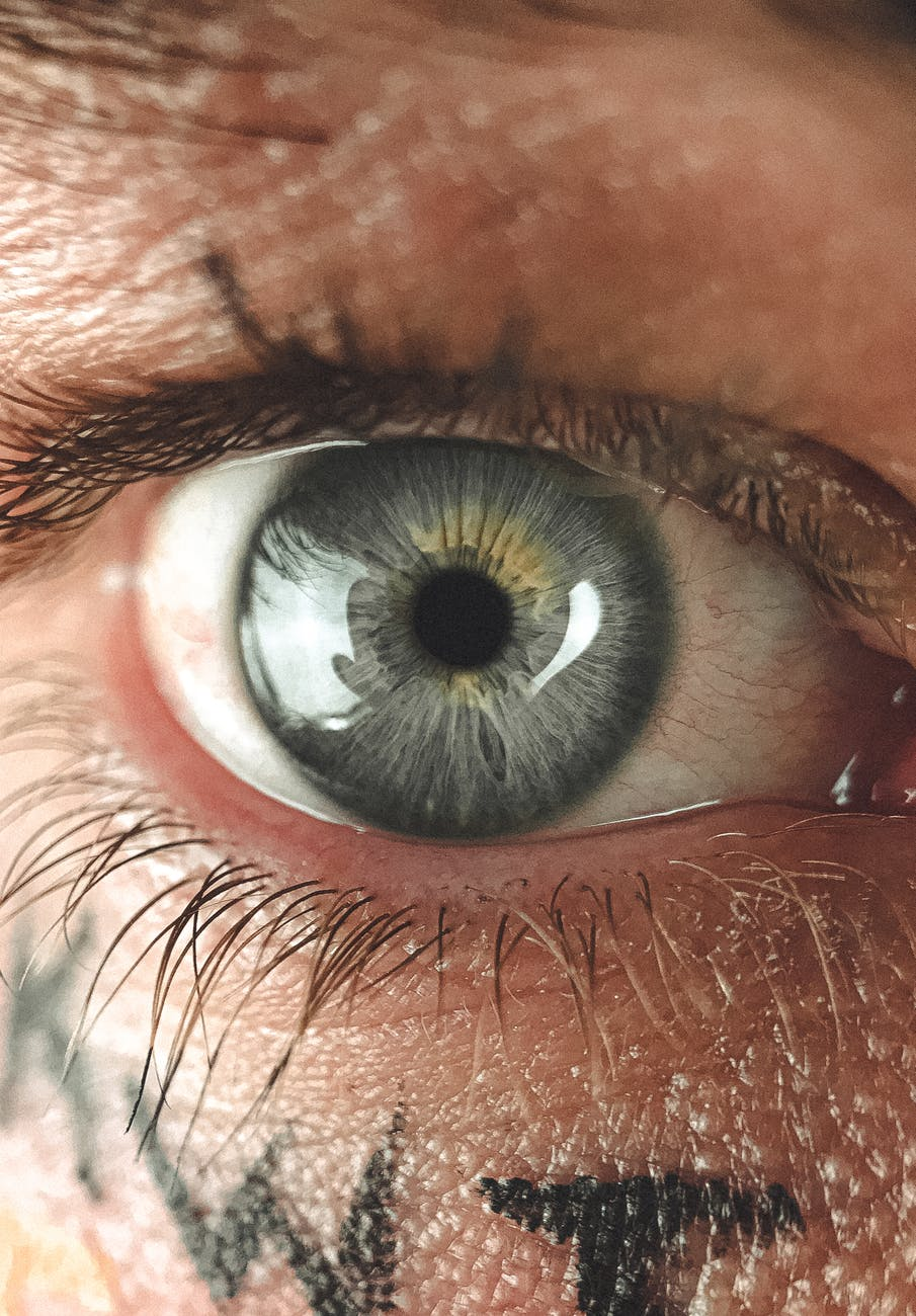 gray eye of man with letters on face skin